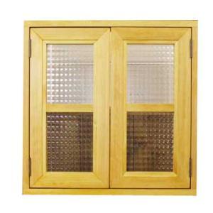 カフェ窓 室内窓 採光窓 フランス製チェッカーガラス 木製ひのき 50×8×50cm扉厚み3cm マグネット仕様 ナチュラル 受注製作 angelsdust