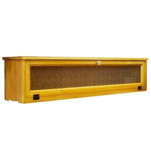 キャビネット 木製ひのき アンティーク調家具 フローラ扉 横型キャビネット パンプキンノブ 90×17×20cm 見せる収納 アンティークブラウン 受注製作 angelsdust