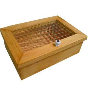 チェッカーガラスの木製小物入れ(中 22×15×7cm)ジュエリーケース アクセサリーボックス (ナチュラル) 受注製作|angelsdust