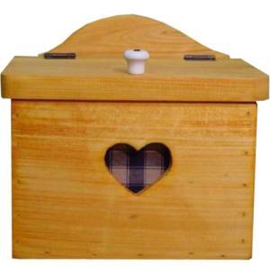 サニタリーケース カントリーチェック 青 ナチュラル w20d15.5h17.5cm ハート ヒノキ 木製 受注製作|angelsdust