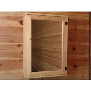 ミラー扉の木製キャビネットシェルフ 全面ミラータイプ背板つき マグネットタイプ(35×15×49cm) (ライトオーク) 受注製作|angelsdust