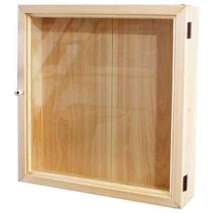 ディスプレイケース 四角 ライトオーク w40d9h40cm 透明ガラス扉 木製 ひのき 受注製作|angelsdust