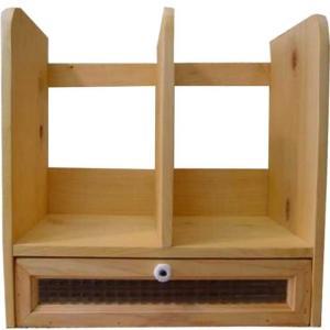 本棚 引き出し付き ライトオーク w33d25h34cm チェッカーガラス 木製 ヒノキ 受注製作|angelsdust