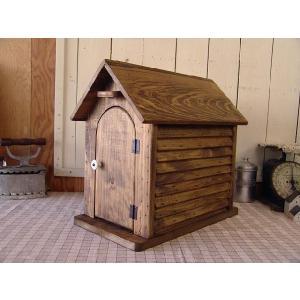 ポスト家型 木製郵便受け バードハウス風 木の扉 アンティークブラウン 受注製作|angelsdust