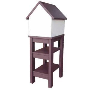 ポスト 家型 木製ひのき バードハウス風 郵便受け 棚付き 自立スタンド メールボックス コーヒーブラウン&オフホワイト 受注製作|angelsdust