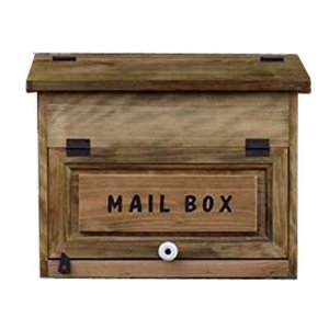 ポスト横型 木製ひのき MAIL BOX彫り込みプレートつき フラットタイプ 投函口なし 郵便受け(アンティークブラウン)受注製作|angelsdust