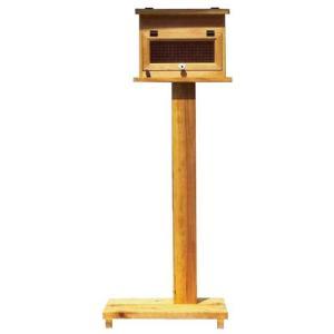 ポスト横型 木製ひのき アンティーク調家具 チェッカーガラス扉 奥行17cm MAILBOX 郵便受け 屋根フラット 自立スタンド ナチュラル 組立て式 受注製作|angelsdust