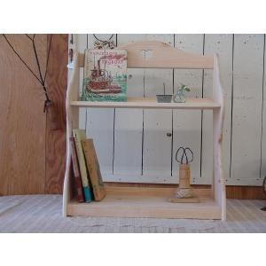 ハートの木製二段ブックスタンド 幅50cm 本棚 (無塗装白木) 受注製作|angelsdust