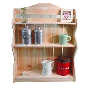 スパイスラック 木製ひのき アンティーク調家具 三段ラック 背板つき カントリーハート 収納棚 キッチン収納 55×19×66cm 無塗装白木 受注製作の写真