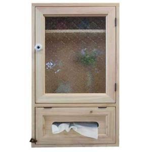 ティッシュボックスキャビネット 木製 ひのき フローラガラス ニッチ用 クッキングペーパーにも(無塗装白木)受注製作 angelsdust