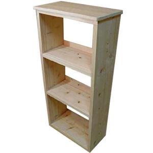 三段ラック 無塗装白木 w55.5d29h116cm 背板なし 木製 ひのき 受注製作|angelsdust