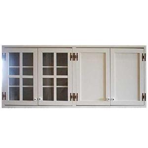 吊り戸棚 桟入り アンティークホワイト w120d30h50cm 透明ガラス扉 木製扉 壁掛け マグネット仕様 木製 ひのき 受注製作 angelsdust