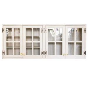 吊り戸棚 透明ガラス扉 アンティークホワイト w120d30h50cm 桟入り パンプキンノブ 木製 ひのき 受注製作 angelsdust