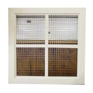 カフェ窓 フィックス窓 木製ひのき フランス製チェッカーガラスの室内窓 両面十字桟入り 45×45cm・厚み3.5cm 北欧 アンティークホワイト 受注製作|angelsdust