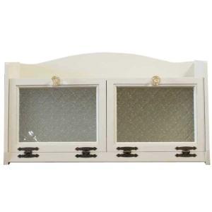 ダブルブレッドケース パンプキンノブ 真鍮 w60d25h32cm アンティークホワイト 側板フローラガラス入り 木製 ひのき 受注製作|angelsdust