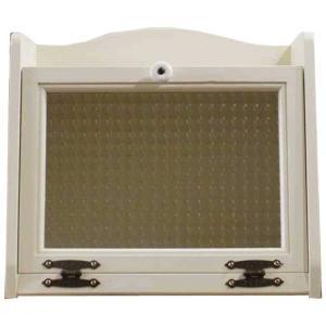 ブレッドケース チェッカーガラス扉 アンティークホワイト w35d25h32cm パンケース 木製 ひのき 受注製作|angelsdust