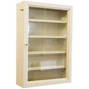 ディスプレイケース 透明ガラス扉 アンティークホワイト w32d10h46cm 五段 木製 ひのき 受注製作|angelsdust