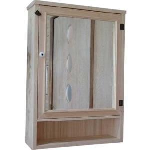 ミラー扉の木製キャビネットシェルフ 背板つき(50×15×70cm) (無塗装白木) 受注製作|angelsdust
