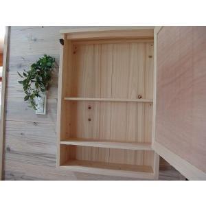 ミラー扉の木製キャビネットシェルフ 背板つき(50×15×70cm) (無塗装白木) 受注製作|angelsdust|03