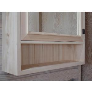 ミラー扉の木製キャビネットシェルフ 背板つき(50×15×70cm) (無塗装白木) 受注製作|angelsdust|05