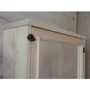 ミラー扉の木製キャビネットシェルフ 背板つき(50×15×70cm) (無塗装白木) 受注製作|angelsdust|06