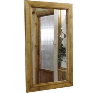 ミラー 木製ひのき 木製フレームミラー 鏡 壁掛けミラー 37×2×60cm アンティークブラウン 受注製作|angelsdust