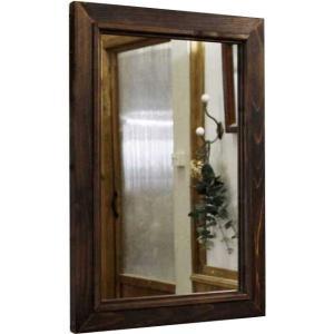 ミラー 木製ひのき アンティーク調家具 木製フレームミラー 鏡 壁掛けミラー 35×2×50cm ダークブラウン 受注製作|angelsdust