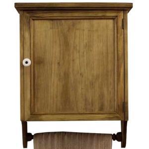 ミラーキャビネット 木製ひのき アンティーク調家具 内側ミラー 木製扉 タオルハンガー付き 37×14×47cm アンティークブラウン 受注製作|angelsdust