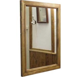 ミラー 木製 ひのき 木製フレームミラー 鏡 壁掛けミラー 45×2×60cm アンティークブラウン 受注製作