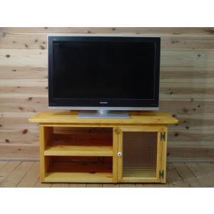 ナチュラル フランス製チェッカーガラスのテレビ台 ひのき(W99×H44cm)受注製作|angelsdust