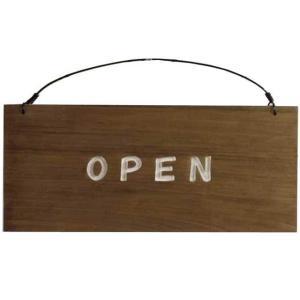 ショッププレート 木製プレート ひのき アンティークブラウン OPEN&CLOSEDプレート 文字ホワイト 受注製作 送料無料|angelsdust