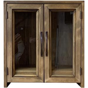 透明ガラス扉のペット用メモリアルハウス台座付き(ペット用仏壇) (アンティークブラウン) 受注製作|angelsdust