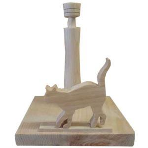 ロールペーパーホルダー 角型 シャム猫の卓上トイレットペーパースタンド(無塗装白木)受注製作|angelsdust