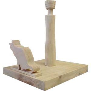 ロールペーパーホルダー 角型 ロシアンブルーの卓上トイレットペーパースタンド(無塗装白木)受注製作|angelsdust