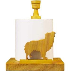ロールペーパーホルダー 角型 オーストラリアンシェパードの卓上トイレットペーパースタンド ナチュラル 受注製作|angelsdust