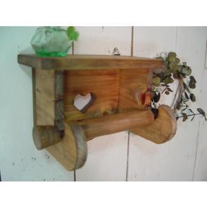 ハートの木製シェルフトイレットペーパーホルダー (アンティークブラウン) 受注製作|angelsdust