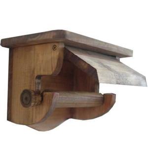 押さえカバー付き木製シェルフトイレットペーパーホルダー奥行き広め (アンティークブラウン) 受注製作|angelsdust