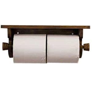 トイレットペーパーホルダー 木製ひのき 2個取り付け ダブルトイレットペーパーホルダー アンティークブラウン 受注製作|angelsdust
