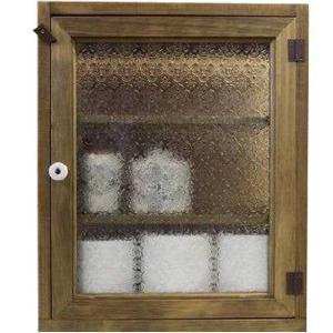 トイレットペーパーラック フローラガラス w38d14h46cm アンティークブラウン 背板なし 木製 ヒノキ 受注製作|angelsdust