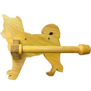 トイレットペーパーホルダー 木製ひのき 柴犬のペーパーホルダー 軸固定式ホルダー トイレ用品 わんにゃんシリーズ(ナチュラル)受注製作|angelsdust