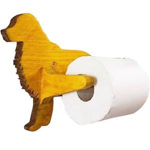 トイレ用ペーパーホルダー 軸固定式ホルダー ナチュラル w30d12h19.5cm ゴールデンレトリバー 木製 ヒノキ 受注製作|angelsdust