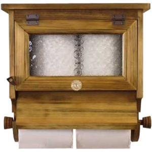トイレットペーパーホルダー 木製ひのき 押さえカバー パンプキンノブ  フローラガラス扉 2個用ストックボックス付き(アンティークブラウン)受注製作|angelsdust
