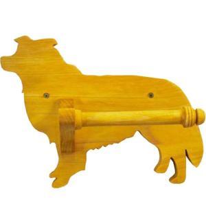 トイレ用ペーパーホルダー 軸固定式ホルダー ナチュラル w25d12h20cm ボーダーコリー 木製 ヒノキ 受注製作|angelsdust