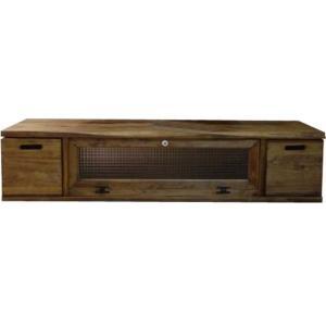 テレビ台 60型 収納ボックス付き アンティークブラウン w137d40h31.5cm チェッカーガラス扉 木製 ひのき 受注製作|angelsdust