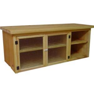 テレビ台 45型 開き扉 ナチュラル w100d43h40cm チェッカーガラス 木製 ひのき 受注製作|angelsdust