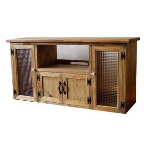 テレビ台 50型 下段木製扉つき アンティークブラウン w120d38h60cm チェッカーガラス扉 木製 国産ひのき 受注製作|angelsdust