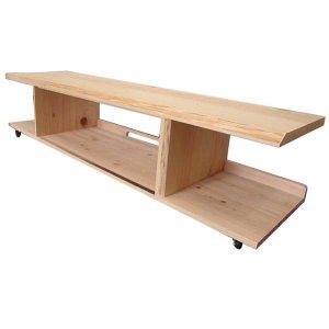 テレビ台 65型 自然木天板 無塗装白木 w150d40h38cm キャスター込み 木製 ひのき 受注製作 angelsdust