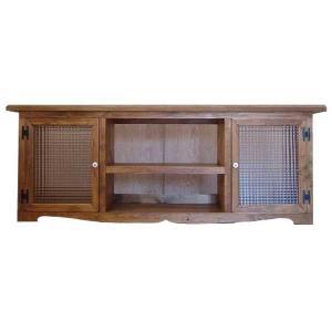 テレビ台 60型 w140d38h52cm アンティークブラウン チェッカーガラス扉 木製 ひのき 受注製作|angelsdust