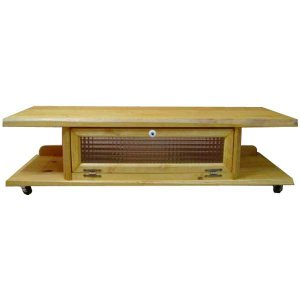 テレビ台 50型 チェッカーガラス扉 ナチュラル w120d36h26cm キャスターつき 自然木天板 木製 ひのき 受注製作 angelsdust