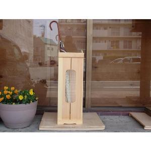 ストレートタイプ(高さ65cm)フランス製チェッカーガラスのカントリー木製かさたて(奥広タイプ 21×32×65cm) (ライトオーク) 受注製作|angelsdust